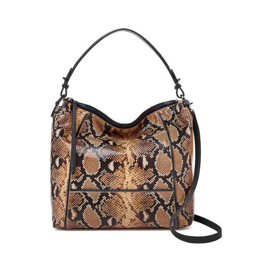 botkier soho zipper detail hobo in brown print snake