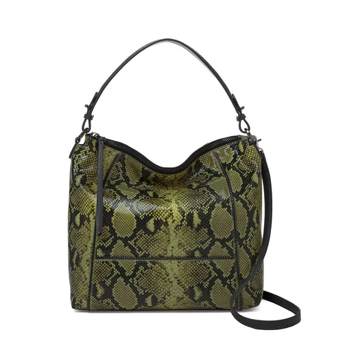 botkier soho zipper detail hobo in military green print snake