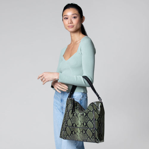 botkier soho zipper detail hobo in military green print snake Alternate View