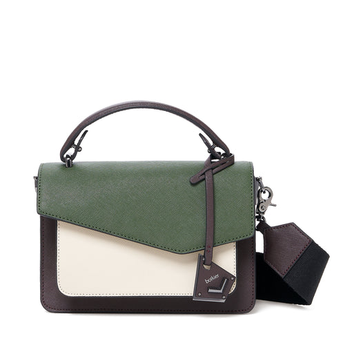 botkier cobble hill crossbody hunter green combo front