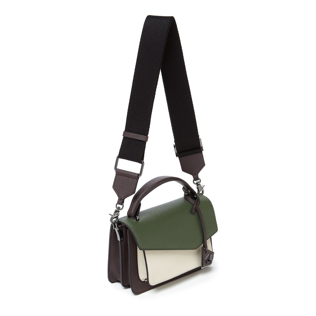 botkier cobble hill crossbody hunter green combo webbed strap