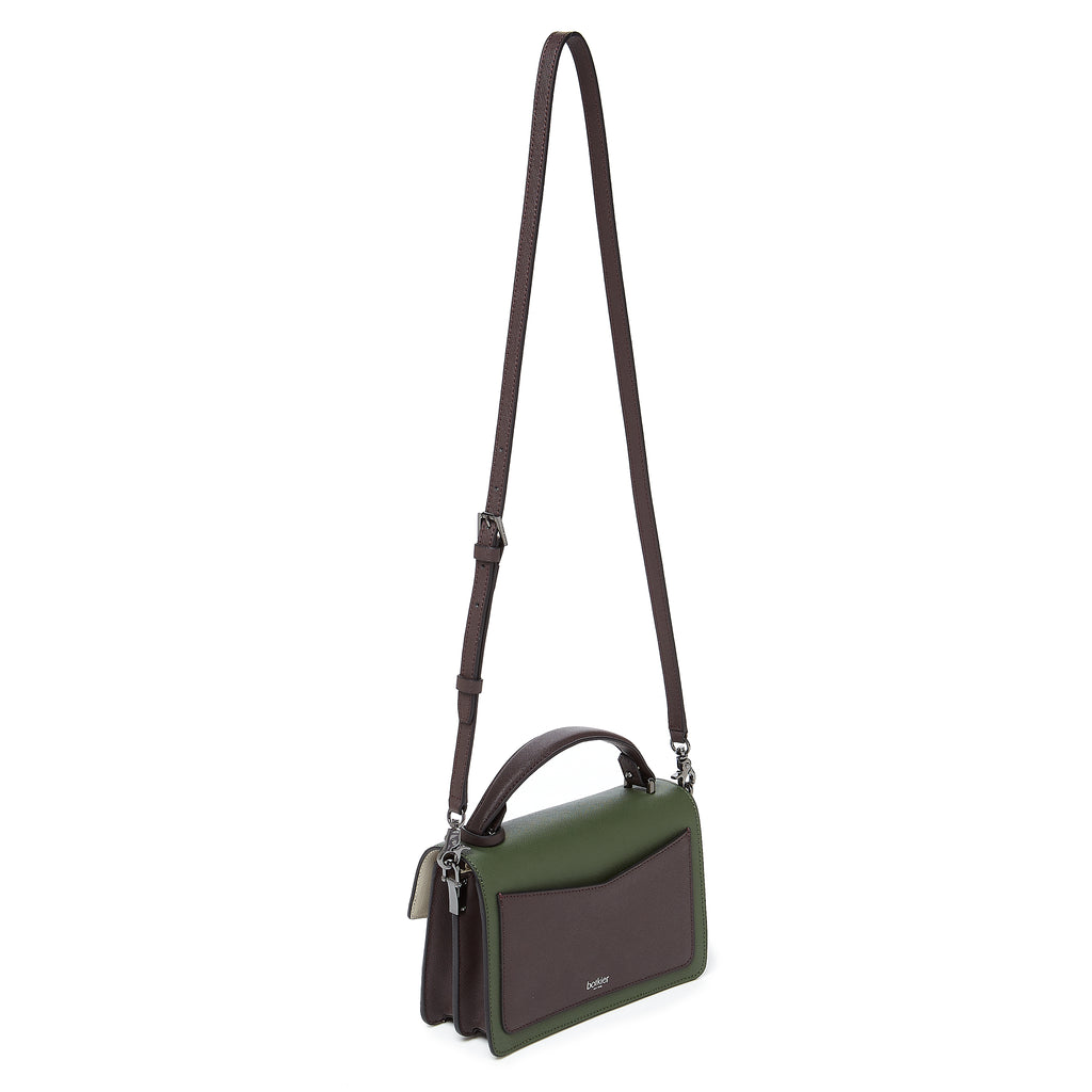 botkier cobble hill crossbody hunter green combo leather strap
