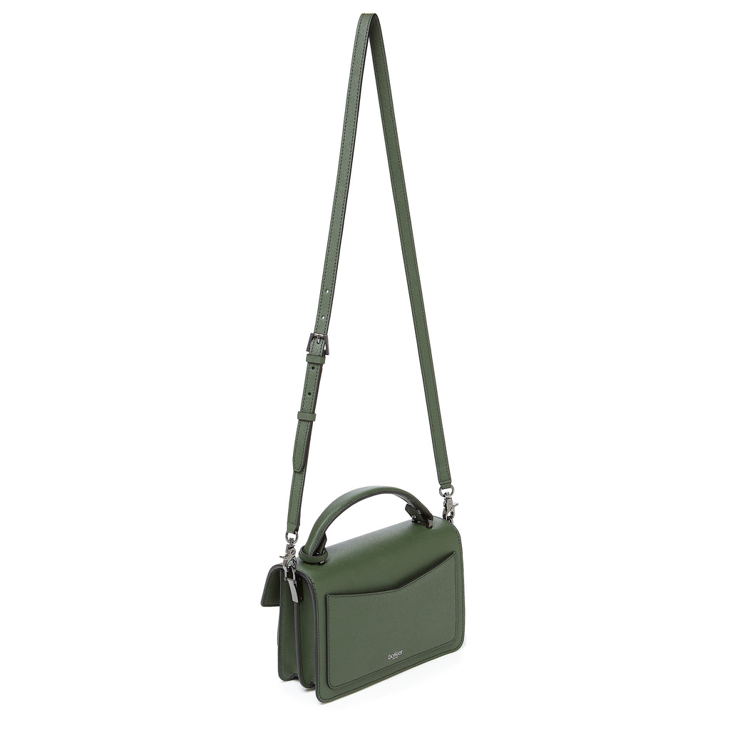 botkier cobble hill crossbody hunter green leather strap