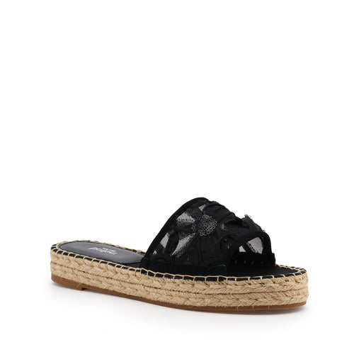 botkier jenny espadrille slide sandal in black floral Alternate View