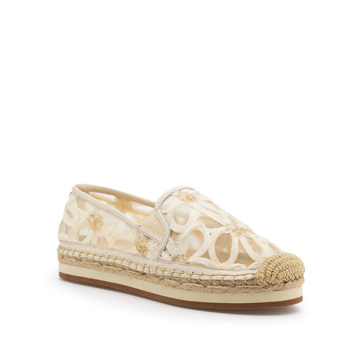 botkier sara espadrille in cream floral mesh fabric Alternate View