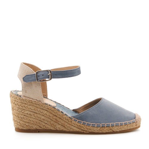 botkier elia low heel wedge espadrille in summer denim blue