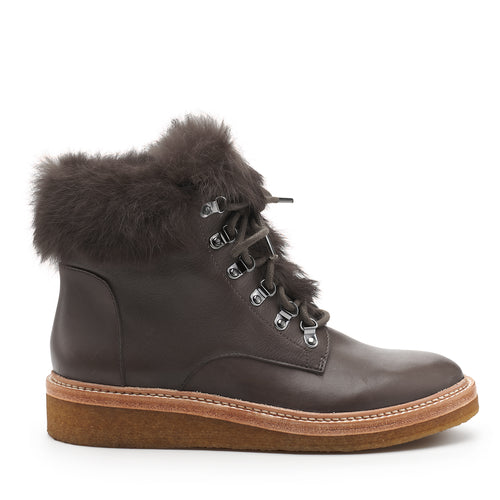 botkier winter fur trim lace up boot in charcoal grey