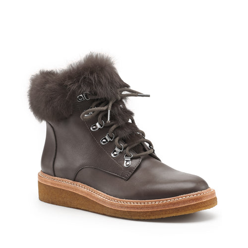 botkier winter fur trim lace up boot in charcoal grey Alternate View