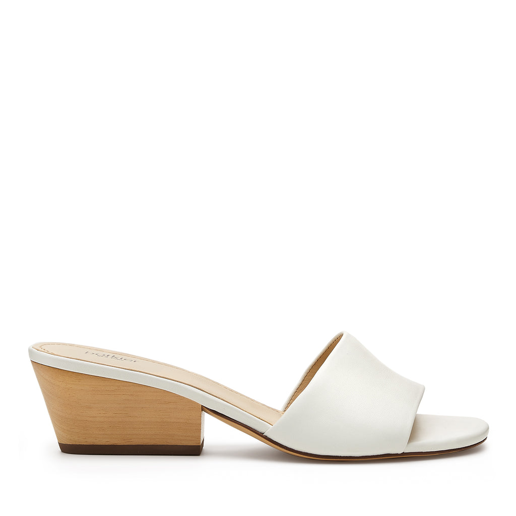 botkier carlie wood low heel slip on sandal mule in white
