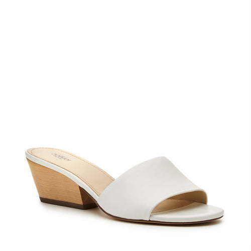 botkier carlie wood low heel slip on sandal mule in white Alternate View