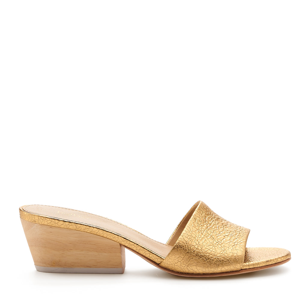 botkier carlie wood low heel slip on sandal mule in distressted gold nappa