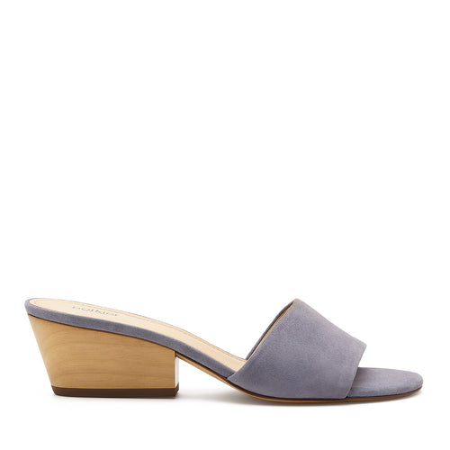 botkier carlie wood low heel slip on sandal mule in purple haze