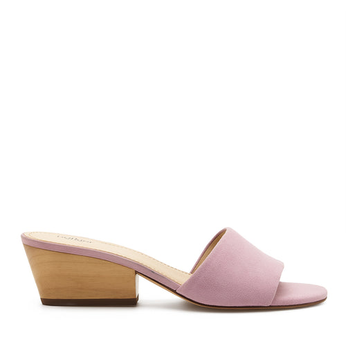 botkier carlie wood low heel slip on sandal mule in lavender purple
