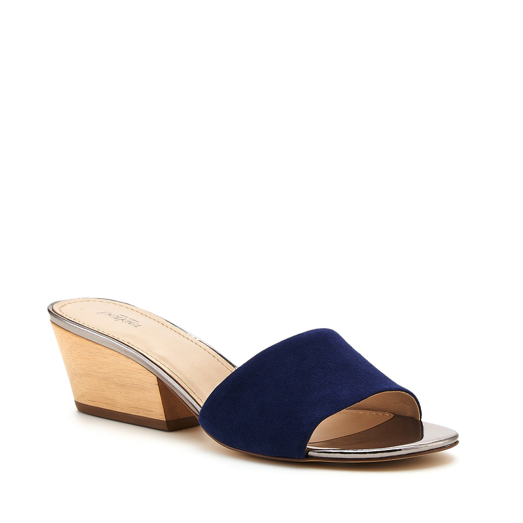 botkier carlie mule midnight blue front angle view