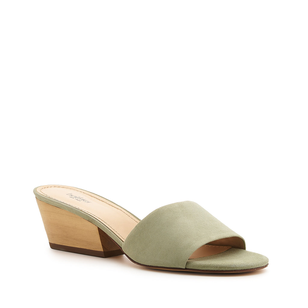 botkier carlie wood low heel slip on sandal mule in olive green