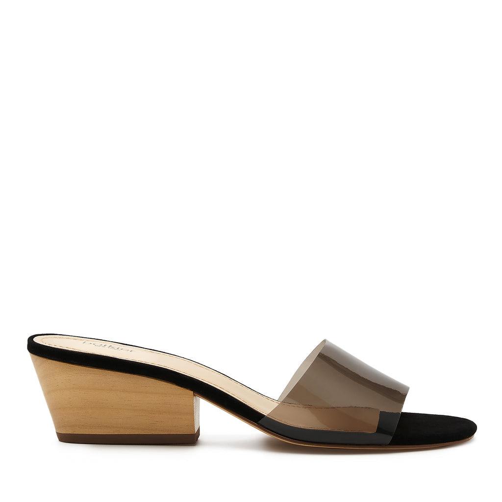 botkier carlie wood low heel slip on sandal mule in black vinyl