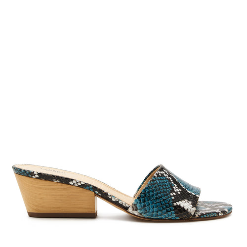 botkier carlie wood low heel slip on sandal mule in aqua blue snake