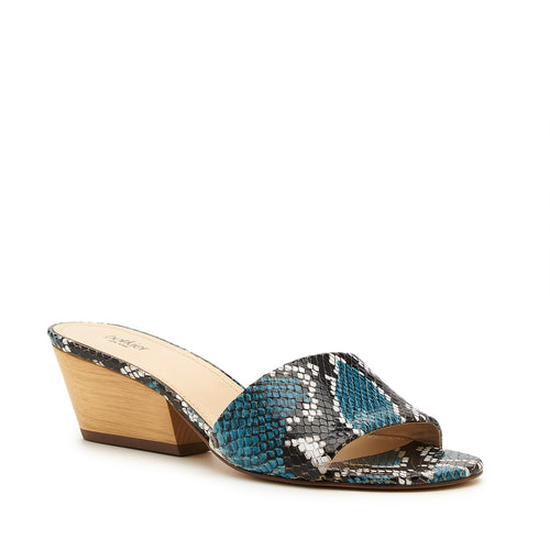 botkier carlie wood low heel slip on sandal mule in aqua blue snake Alternate View
