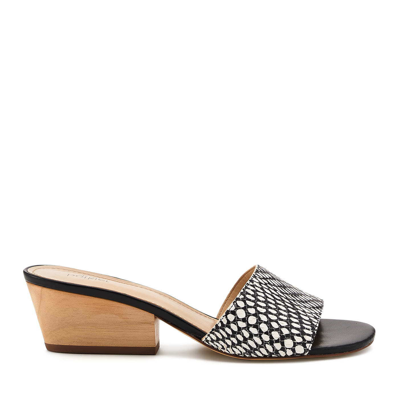 botkier carlie mule black white snake side view
