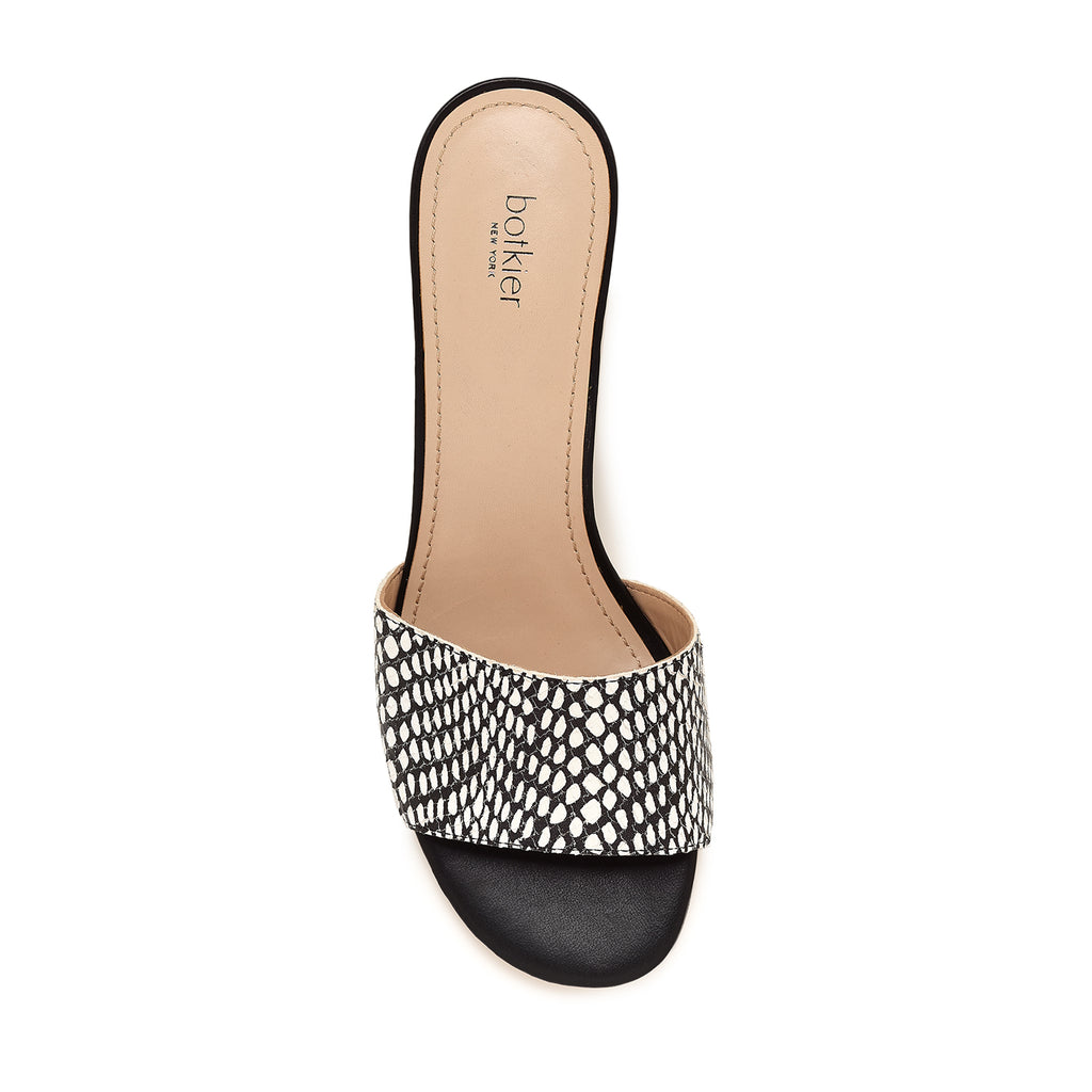 botkier carlie mule black white snake top view