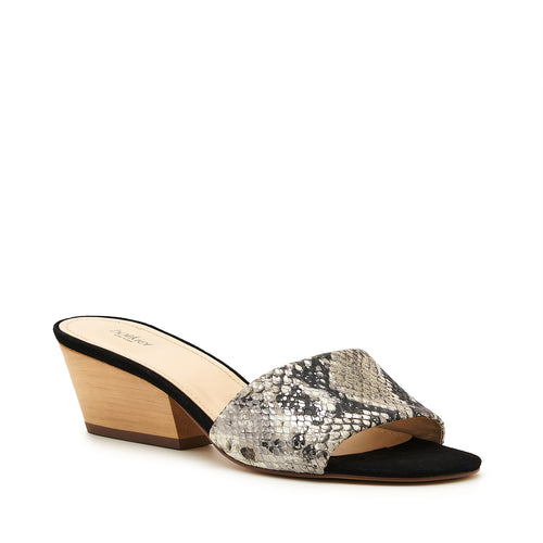 botkier carlie wood low heel slip on sandal mule in metallic gunmetal snake Alternate View