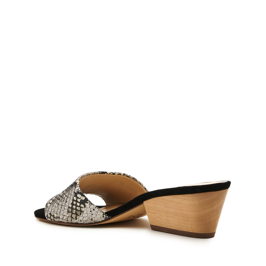 botkier carlie wood low heel slip on sandal mule in metallic gunmetal snake