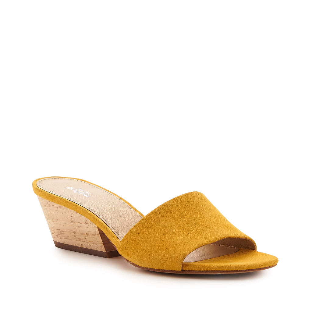 botkier carlie wood low heel slip on sandal mule in sunshine yellow