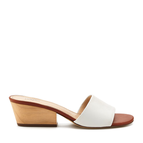 botkier carlie mule white cognac side view