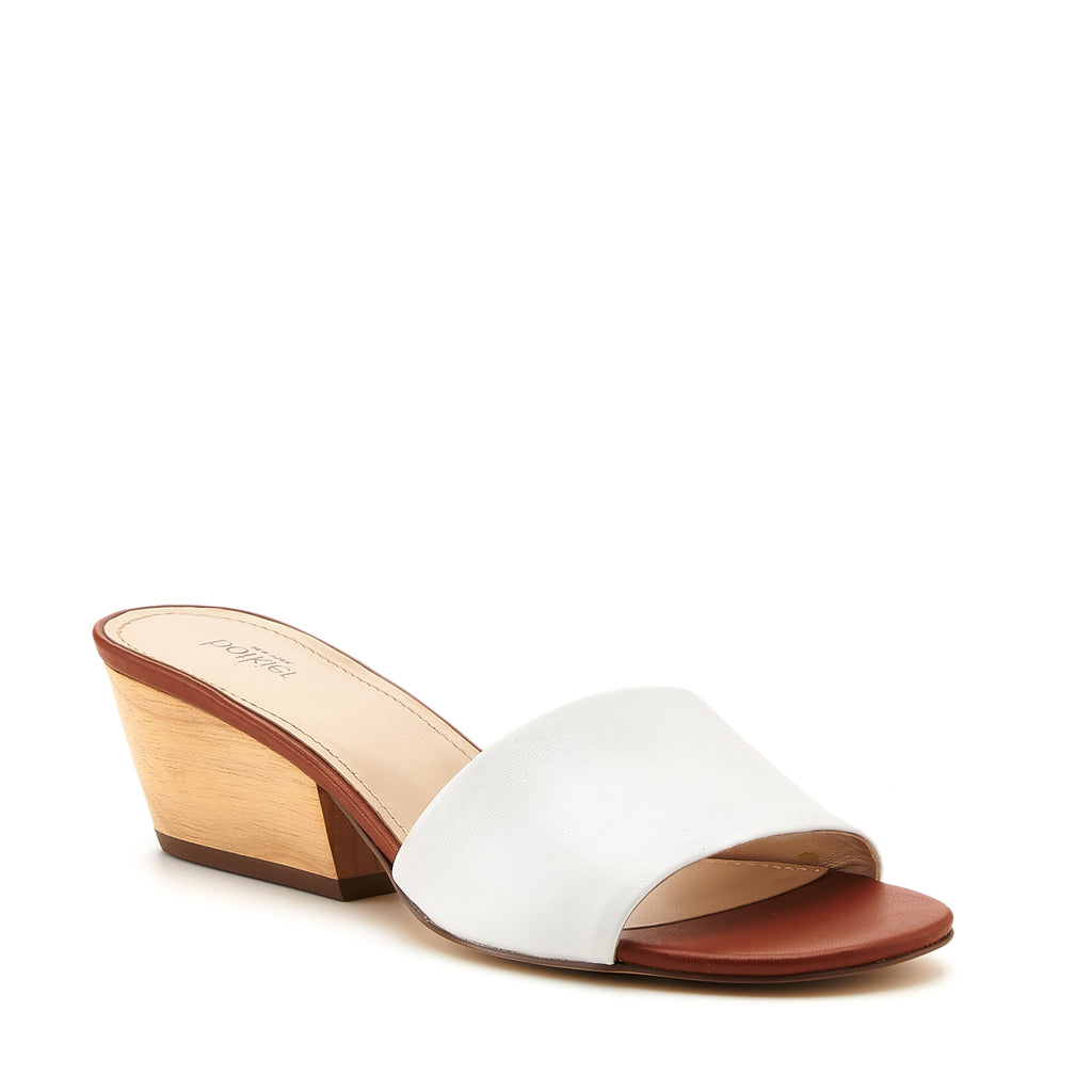 botkier carlie mule white cognac front angle view