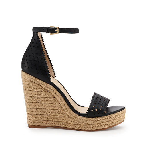 botkier jamie raffia wrapped ankle strap wedge in black