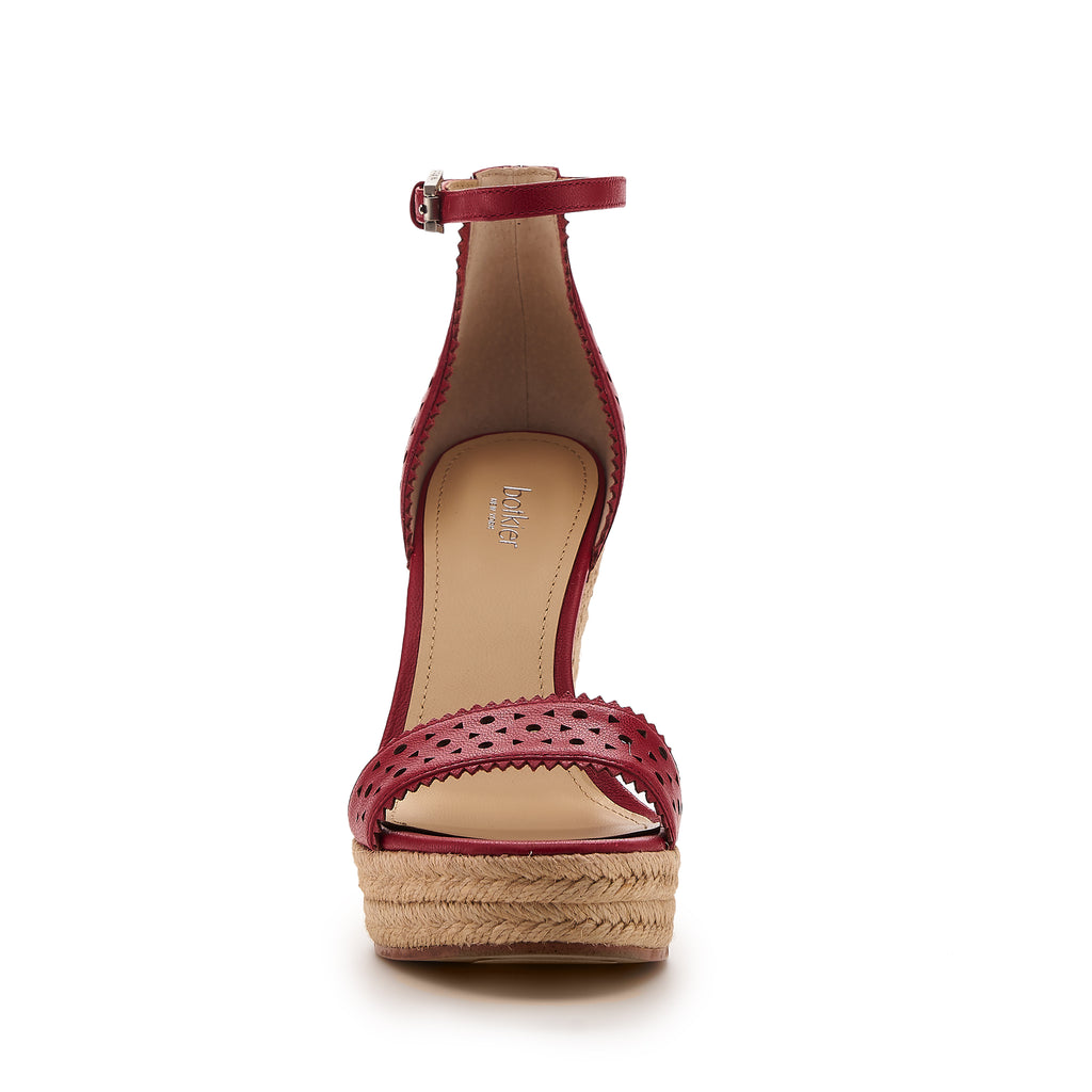 botkier jamie raffia wrapped ankle strap wedge in cherry red
