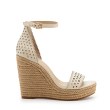 botkier jamie raffia wrapped ankle strap wedge in cream white