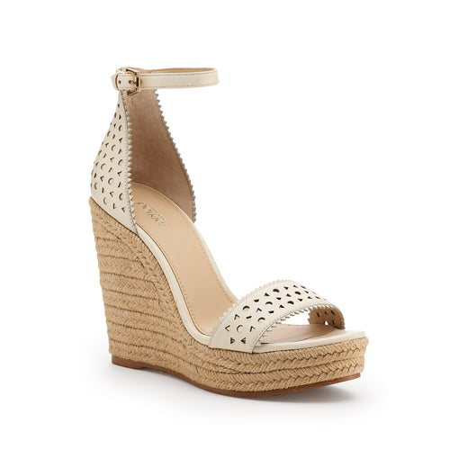 botkier jamie raffia wrapped ankle strap wedge in cream white Alternate View