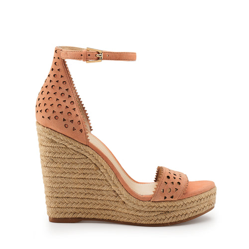 botkier jamie raffia wrapped ankle strap wedge in soft peach pink