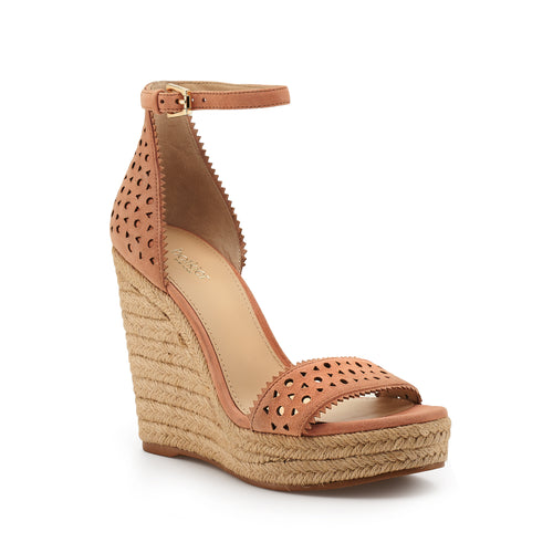 botkier jamie raffia wrapped ankle strap wedge in soft peach pink Alternate View