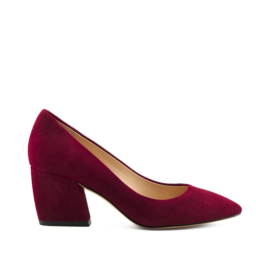botkier stella almond toe low heel pump in bordeaux red