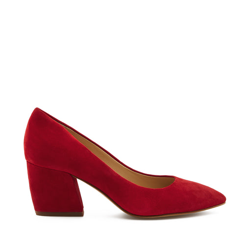 botkier stella almond toe low heel pump in cherry red