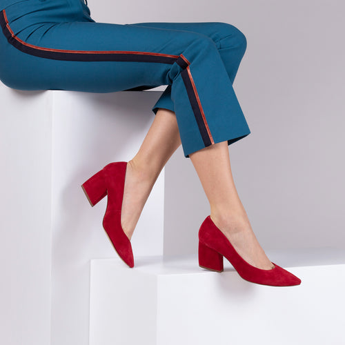 botkier stella almond toe low heel pump in cherry red Alternate View