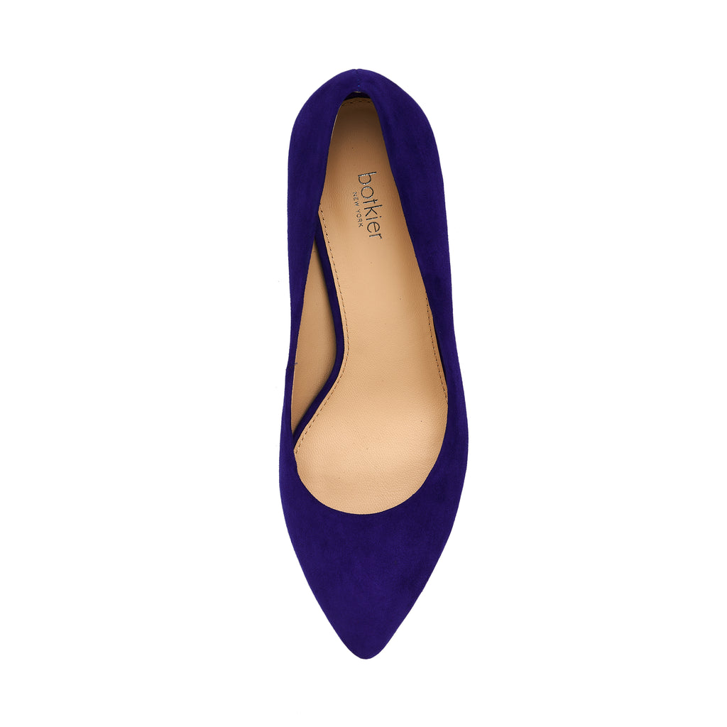 botkier stella almond toe low heel pump in dazzling blue