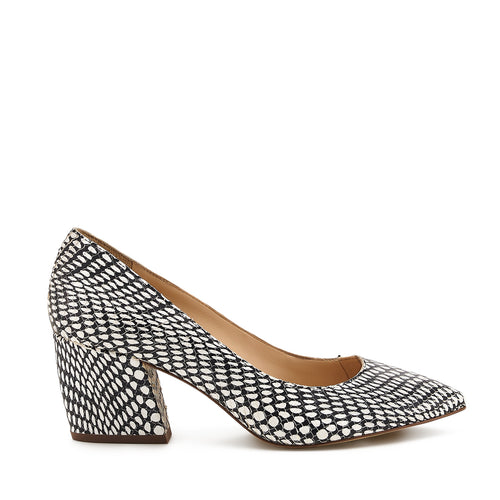 botkier stella almond toe low heel pump in black white snake