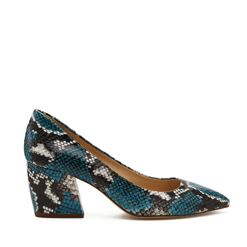 botkier stella almond toe low heel pump in aqua blue snake