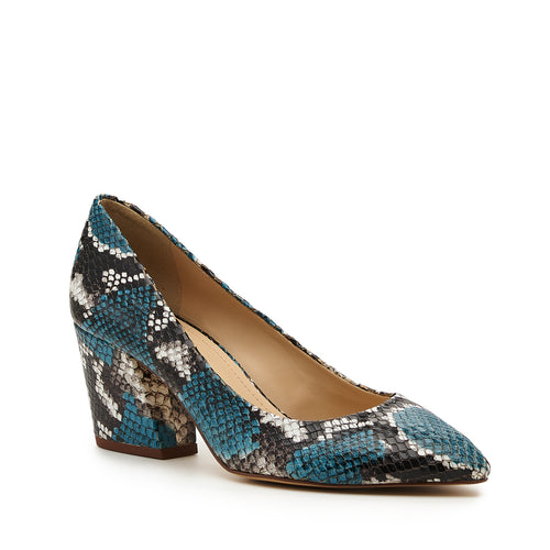 botkier stella almond toe low heel pump in aqua blue snake Alternate View