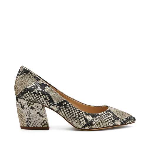 botkier stella almond toe low heel pump in metallic snake