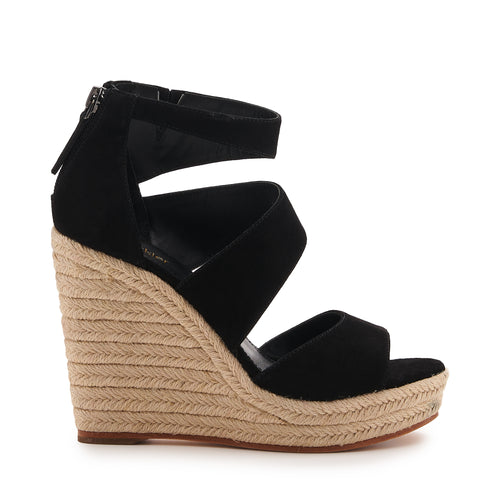 botkier julian raffia wrapped caged wedge in black