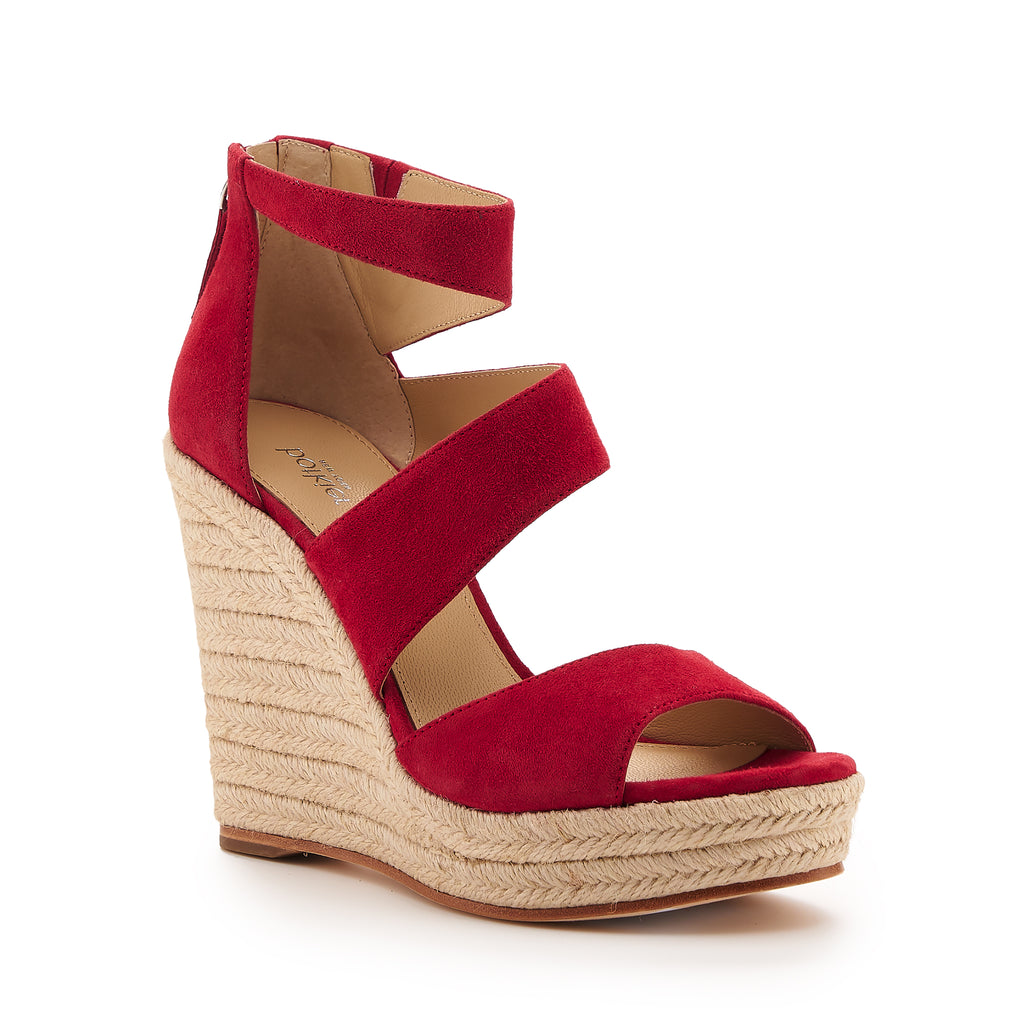 botkier julian raffia wrapped caged wedge in cherry red
