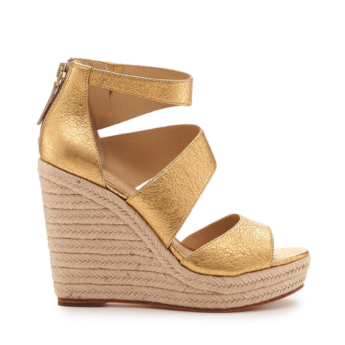 botkier julian raffia wrapped caged wedge in distressed gold