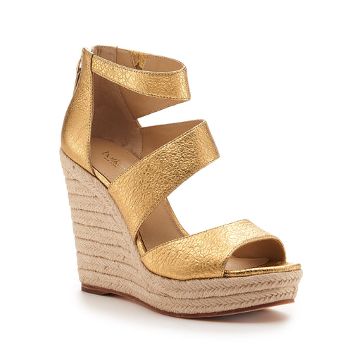 botkier julian raffia wrapped caged wedge in distressed gold Alternate View