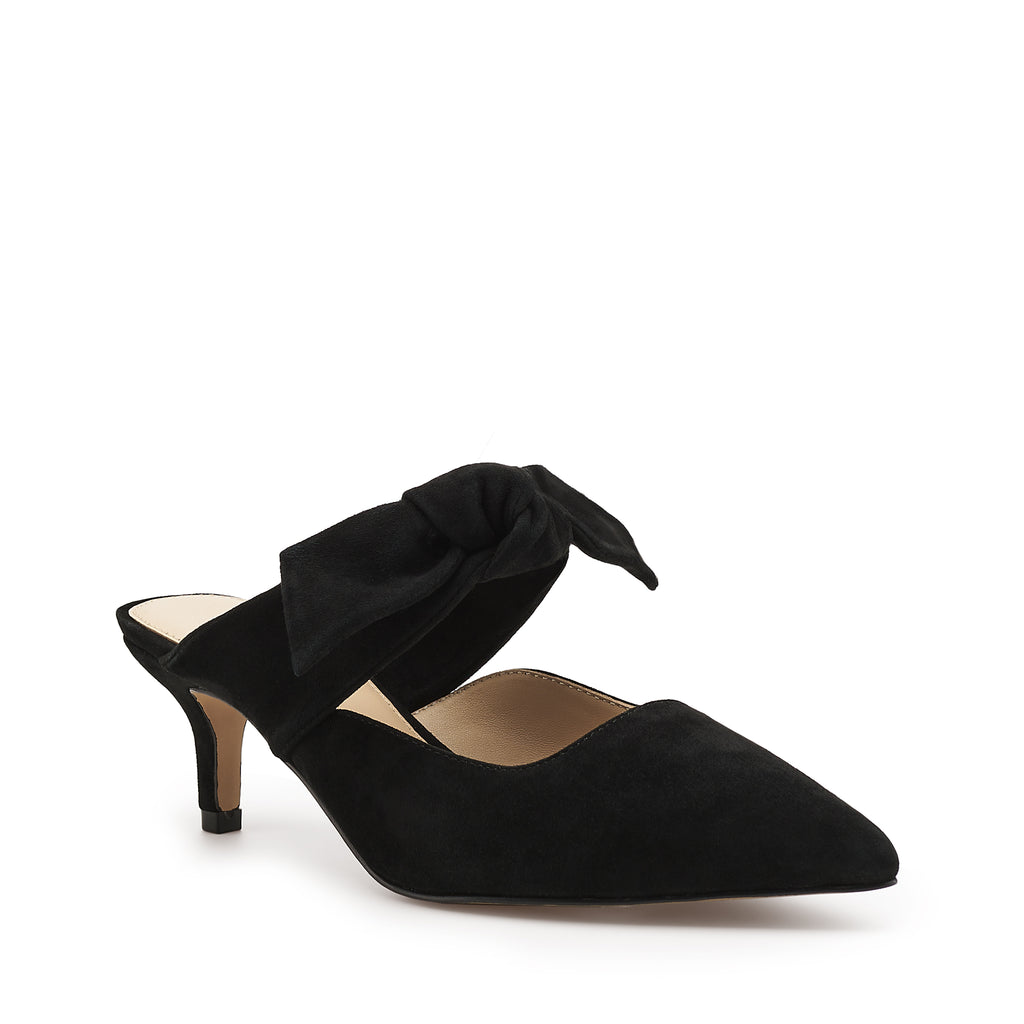 botkier pina kitten heel pointed toe mule with bow in black