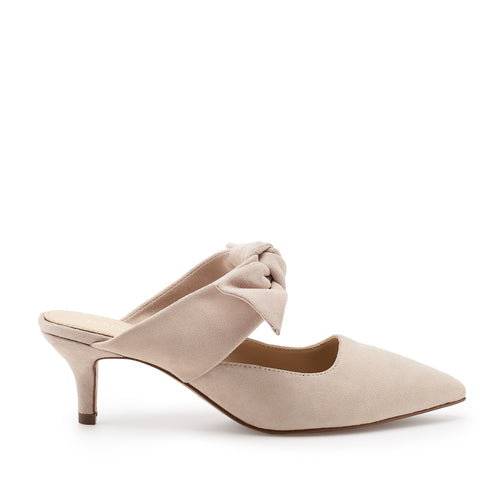 botkier pina kitten heel pointed toe mule with bow in blush pink