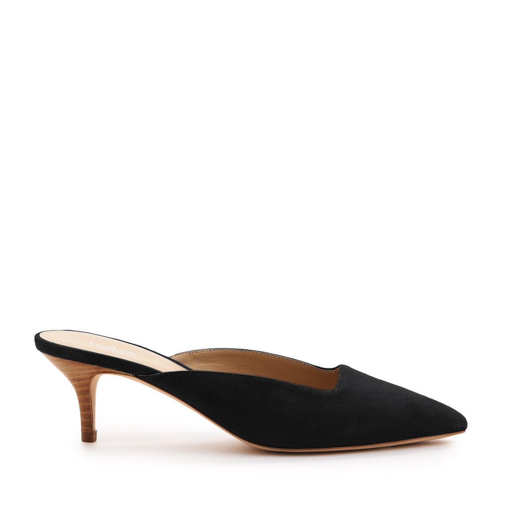 botkier perry kitten heel pointed toe mule in black